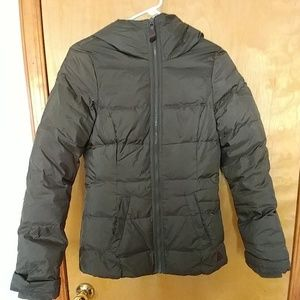 Olive green down winter jacket